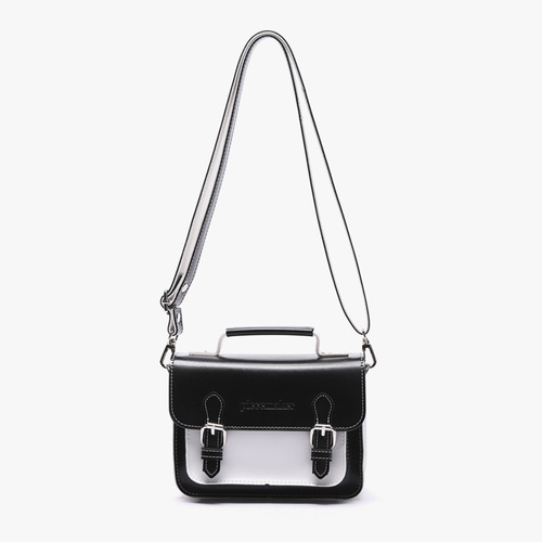 LEATHER SATCHEL BAG MINI (BLACK WHITE)