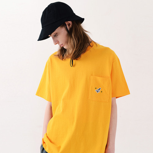 PAPER ICON POCKET TSHIRTS (YELLOW)
