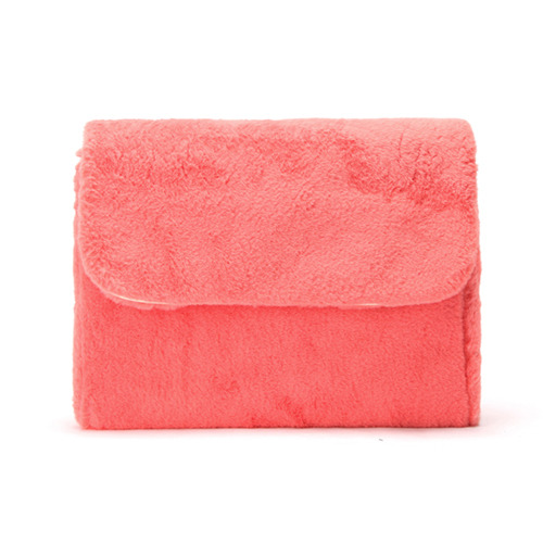 MACARON FUR CLUTCH (CORAL RED)
